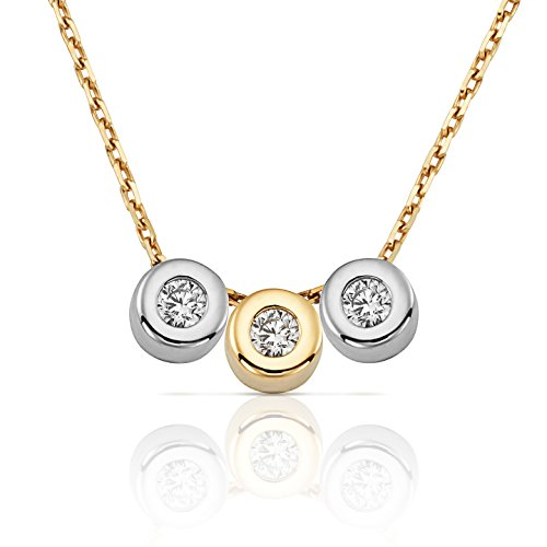 Jewel Connection Delicate 3-Stone CZ Bezel Set Slide Necklace in Two Tone 14k Yellow and White Gold