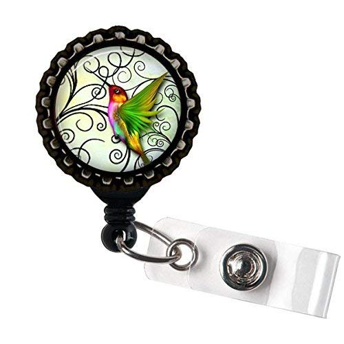Tropical Hummingbirds Retractable Name Badge holder Reels Identification Black Bottle Cap