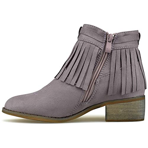 Lilac Fringe Booties Walking Premier Cowboy Casual Western Comfortable Booties Casual Low Standard Heel 7xnBSnWg