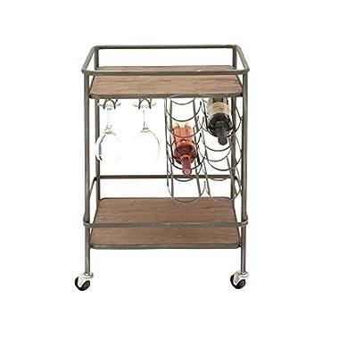 Deco 79 48673 Metal & Wood Winerack bar Cart