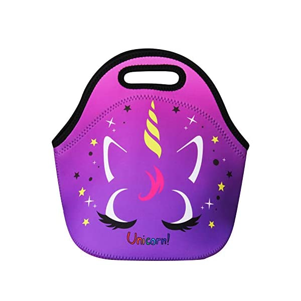Cute Unicorn Lunch Bag for Kids, Waterproof Insulated Neoprene Lunch Tote with Zipper for School Work Outdoor (Purple002… 9