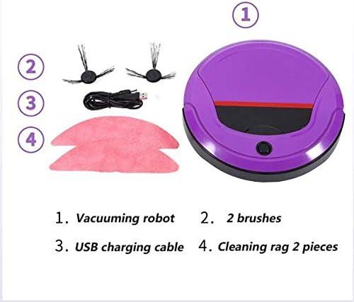 LYA Nettoyage Robot Multifonction 3-en-1 Aspirer Balais Et Eponger Intelligent Sensing Ultra-Silencieux Double Filtre Nettoyage Domestique Purple