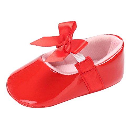 Hunpta Baby Säugling Kinder Mädchen Leder Kleinkind Neugeborene Schuhe Rot