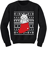 TeeStars - Cat in Stocking Kitty Ugly Christmas Sweater Toddler/Kids Sweatshirts