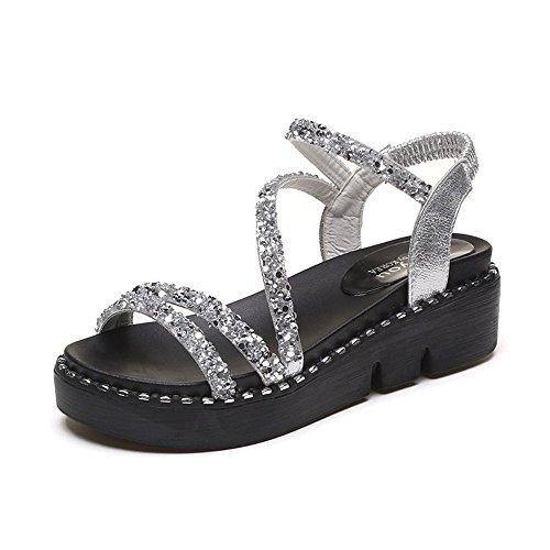 Summer Sliver Sequins Thick Sandals Open Toe Soles Women's qd01wCq