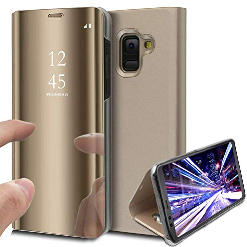 Samsung J8 2018 Case, COTDINFORCA Mirror Design Clear View Flip Bookstyle Luxury Protecter Shell With Kickstand Case Cover for Samsung Galaxy J8 2018 (6.0 inch). Flip Mirror: Gold