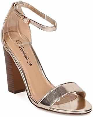 8aabf8bed39 Breckelle s Women Leatherette Open Toe Ankle Strap Chunky Heel Sandal HA00