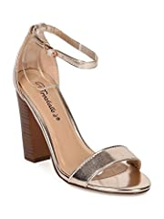 These metallic leatherette sandals are made with an open toe, single band at vamp and single sole. Also made with a faux wooden block heel and ankle strap with adjustable buckle closure.