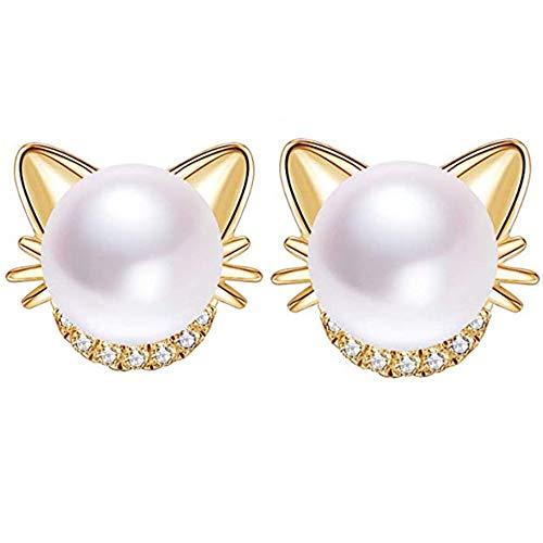 Tospania Freshwater Cultured Pearl Stud Earrings 925 Sterling Silver Cat Ear Studs with Crystal Zircon Earrings for Women,Girls with Gift Box (18K Golden)