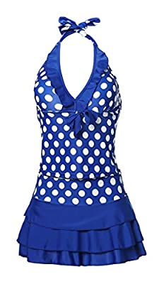 MiYang Women's Two Pieces Polka Dot Halter Push Up Slim Tankini Swim Dress