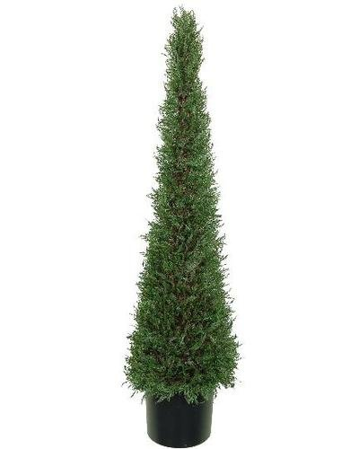 One 5 Foot Artificial Cypress Tower Topiary Tree Plant Decor Potted