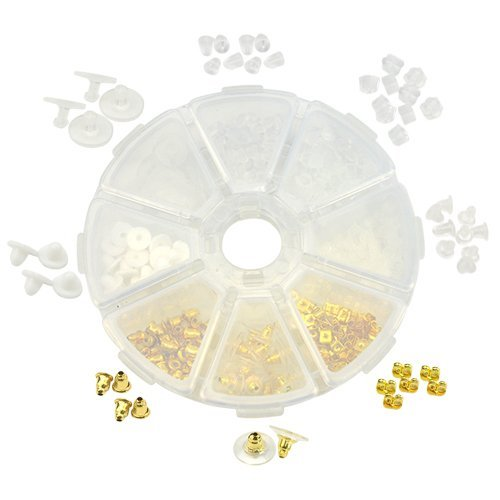 (XLX 400PCS 8 Kinds Earring Backs Fancy Earring Finding Butterfly Bullet Small Nipple Round Plum Shape Metal Plastic Rubber Secure Reliable Earring Back Assortment Kit)