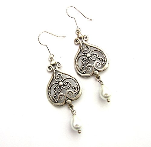 Antique Silver Pearls earrings oxidized Chandeliers with white Teardrops wedding dangles