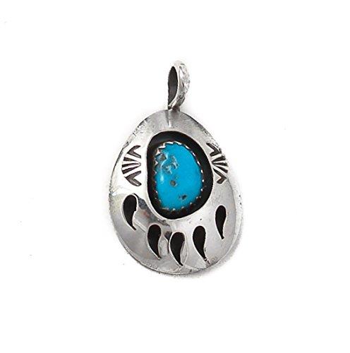 Navajo Silver Turquoise Bear Paw Pendant 18