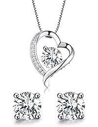 ♥Gift for Women 925 Sterling Silver Forever Love Heart Pendant Necklace&Earrings Set