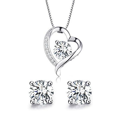 Turantu ♥Gift for Women♥ 925 Sterling Silver Forever Love Heart Pendant Necklace&Earrings Set