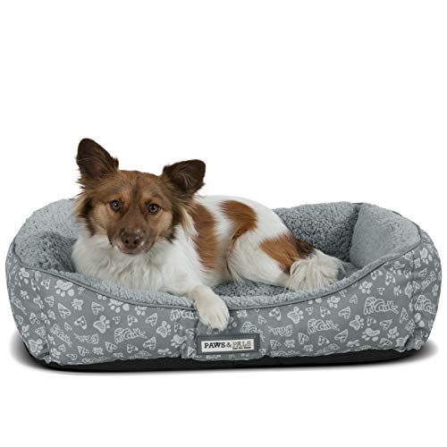 Paws & Pals Dog Bed for Pets & Cats - Printed Lounger with S