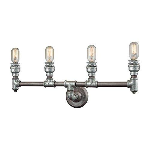 Elk 10685/4 Cast Iron Pipe Vanity, 4-Light 240 Total Watts, Weathered (Elk Lighting Wall Vanity)