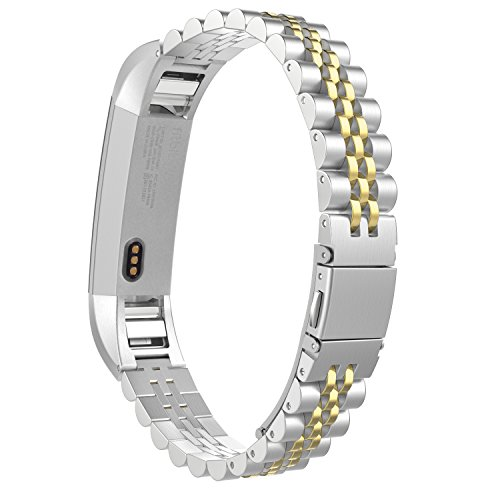 MoKo Fitbit Alta HR and Alta Band, Premium Solid Stainless Steel Metal Replacement Bracelet Strap Band with Connector for Fitbit Alta & Fitbit Alta HR, Silver & Gold by MoKo