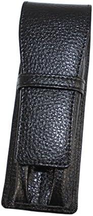 New Gullor Genuine Leather Pen Case for 2 Pens - Black
