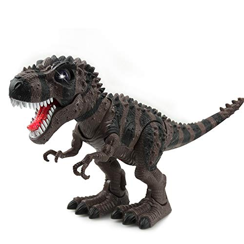 WonderPlay Walking Dinosaur T-Rex Toy Figure with Lights and Sounds Realistic Tyrannosaurus Dinosaur Toys for Kids Battery Operated Color May Vary (Brown)