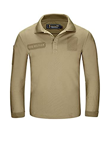 FREE SOLDIER Men Shirts Long Sleeve Polo Shirt with Pocket 100% Coolmax Fabrics Breathable Shirt (Wolf brown,XL)