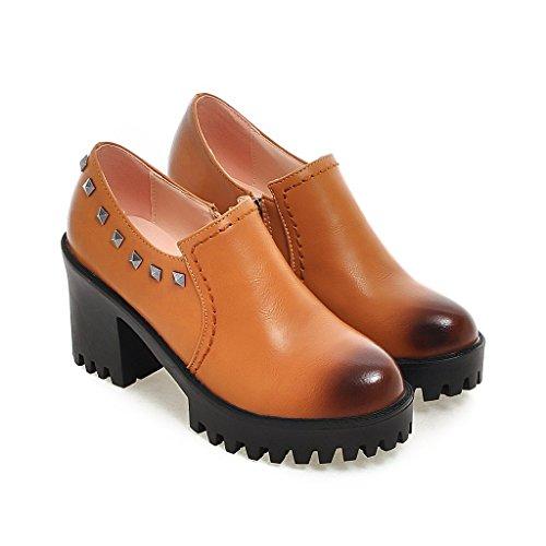 Mfairy Womans Moda British Style Rivetto Martin Stivali Casual Oxford Flats Giallo