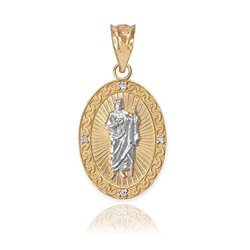10k Two-Tone Gold Oval Saint Jude Thaddeus Diamond Medal Charm Pendant (Small) ()