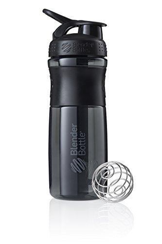 BlenderBottle SportMixer Tritan Grip Shaker Bottle, Transparent Black/Gray, 28-Ounce (Sport Mixer)