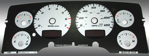 US Speedo RAM 022 - Daytona Edition Gauge Faces - Silver - 120 MPH 7000 RPM - for: Dodge RAM Gas W/Needle Stops