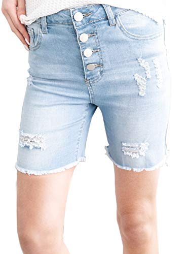 Dokotoo Womens Summer Basic Slim Fashion Juniors Ladies Button Front Mid Rise Destroyed Distressed Stretchy Bermuda Shorts Skinny Jeans Sky Blue Medium