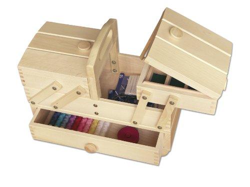 Aumueller - Scatola da cucito, in legno di faggio, dimensioni: 34 x 16 x 28 cm, colore: legno chiaro 31/247/1
