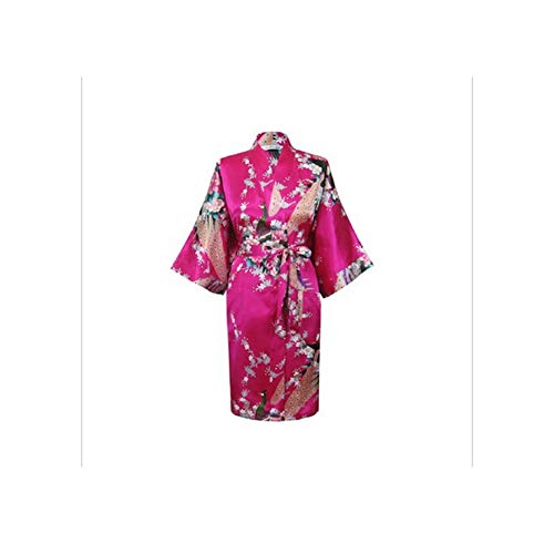 Hot New Chinese Wedding Robe Faux Silk Kimono Gown Printed Nightgown Sleepwear Flower XXXL Br012,Hot,L