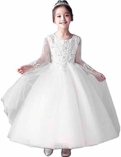7db35ec4410 Tifus Dress Flower Girl Dresses for Party Long Sleeve First Communion Dresses  White Lace Floor Length