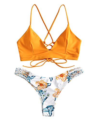 ZAFUL Women Lace up Braided Strap Bikini Set Padded V Neck High Leg Two Piece Swimsuit (Yellow, -