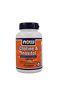 NOW Choline and Inositol 500mg, 100 Capsules (Pack of 2)