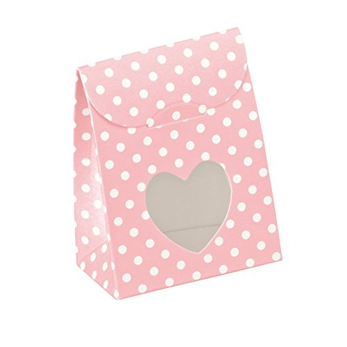 Heart Window Favor Boxes (Decorative Gift Favor Box with Lid Heart Cutout, Set of 12, Best Designer Quality for Birthday, Wedding, Parties, Easy Fold, No Assembly Required, by Giovanni Grazielli, Pink White Polka Dots)