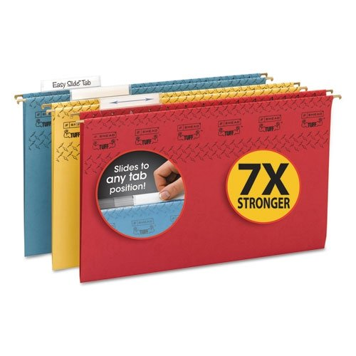 Smead TUFF Hanging File Folder with Easy Slide Tab, 1/3-Cut Adjustable Plastic Tabs, Legal Size, Assorted Colors, 15 per Box (Easy Slide Tab)