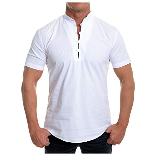 Mote Mens Clothes, MensShort Sleeve Shirt Smart Grandad Collar Loops Cotton White Black Blouse T-Shirt
