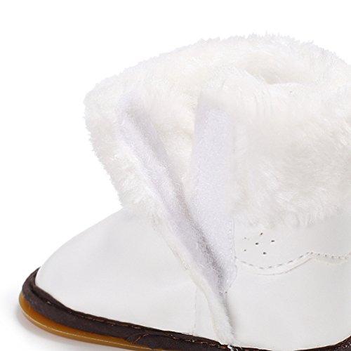 YiJee Baby Mädchen Warme Elegant Schneestiefel Herbst und Winter Bowknot Kinderschuhe mit Mehr Villus Weiß