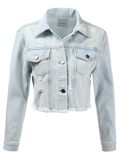 Detail Cropped Jacket - DRESSIS Womens Vintage Button Down Destroyed Cropped Denim Jacket LightBlue L