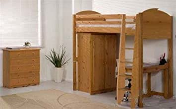 Pine High Sleeper Cabin Bed Frame Amazon Co Uk Kitchen Home