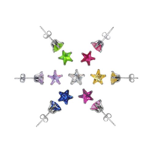 Gem Avenue 925 Sterling Silver Star Shape CZ Star Post Back 4mm Cubic Zirconia Stud Earrings Set of 7 Colors for Women (Sterling Silver Star Shape)