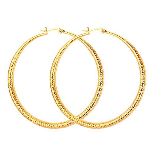 Women Earrings Loop 62mm Gold Plated Hoop Earring (Gold)