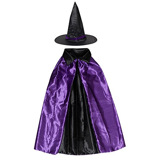 Womens Halloween Witch Cloak Party Costume Cape Coat Shawl for Children Kids (35.4''/90cm, Purple/Black)
