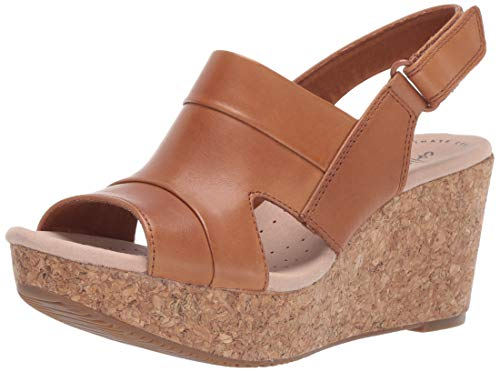 CLARKS Women's Annadel Ivory Wedge Sandal tan Leather 065 W US