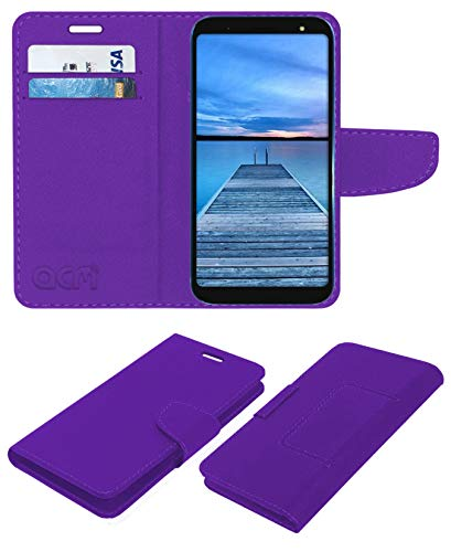 Acm Leather Flip Wallet Case Compatible with Yu Ace Mobile Cover Purple