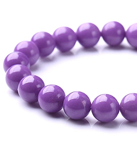 [ABCgems] Rare American Purple Phosphosiderite (Combination of Phosphorus and Iron- Grade AAA) 8mm Smooth Round Beads for Beading & Jewelry Making
