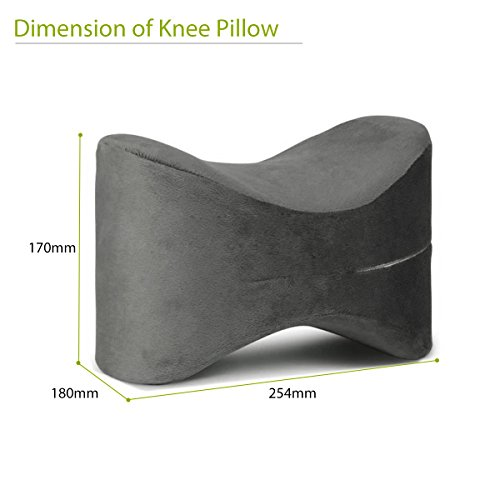 Price comparison product image Essort Knee Pillow, Memory Foam Humanized Design Knee Pillow For Sciatica Relief, Back Pain, Leg Pain, Hip and Joint Pain Fit For Pregnancy and Side Sleeper 254 × 180 ×170CM, Grey without Elastic Band