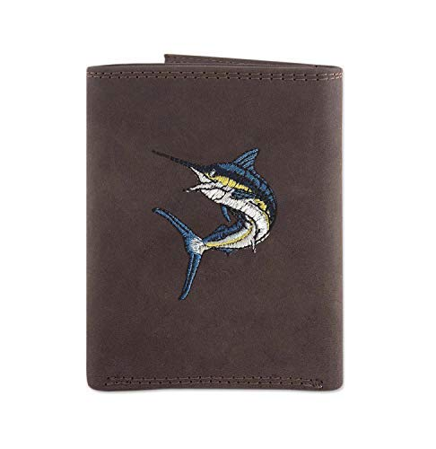 Zep Pro Action Marlin Crazy Horse Embroidered Leather Wallet IWT (Bi-Fold)